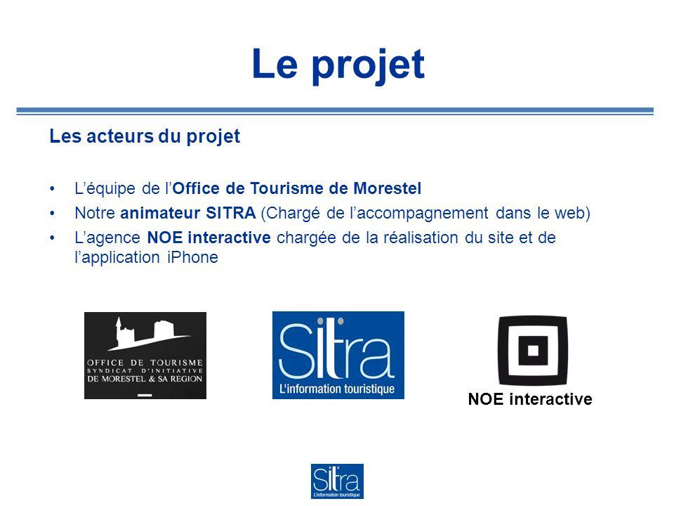 Le projet Les acteurs du projet Léquipe de lOffice de Tourisme de Morestel Notre animateur SITRA (Chargé de laccompagnement dans le web) Lagence NOE i