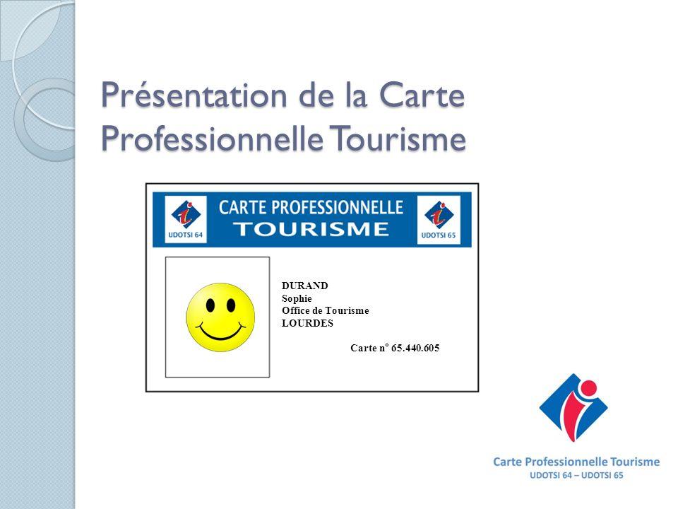 Présentation de la Carte Professionnelle Tourisme DURAND Sophie Office de Tourisme LOURDES Carte n° 65.440.605