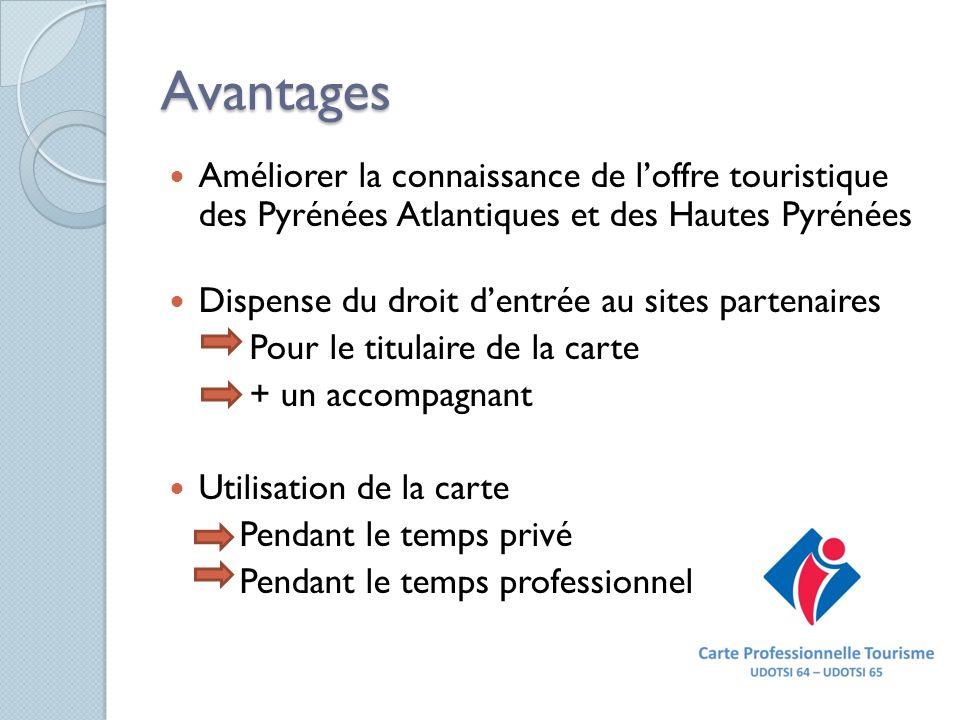 Avantages Améliorer la connaissance de loffre touristique des Pyrénées Atlantiques et des Hautes Pyrénées Dispense du droit dentrée au sites partenair