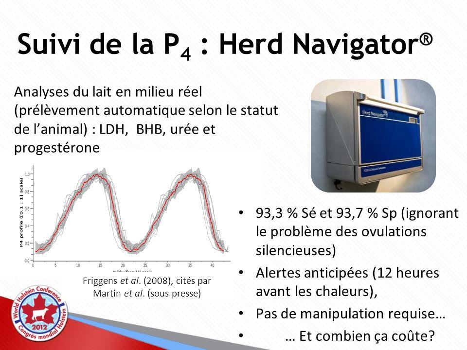 Suivi de la P 4 : autres outils pour la ferme Mini-labos pour analyses de la P 4 à la ferme : –Taux de concordance entre le test ELISA en labo (UNCEIA) et le eProCheck ® : 76,7 % dans le lait (Gatien et al., 2012), 87,5 % dans le sérum –Coûteux, prend beaucoup de temps Analyses de P 4 individuelles : LFIA, colorimétrique –Efficaces.