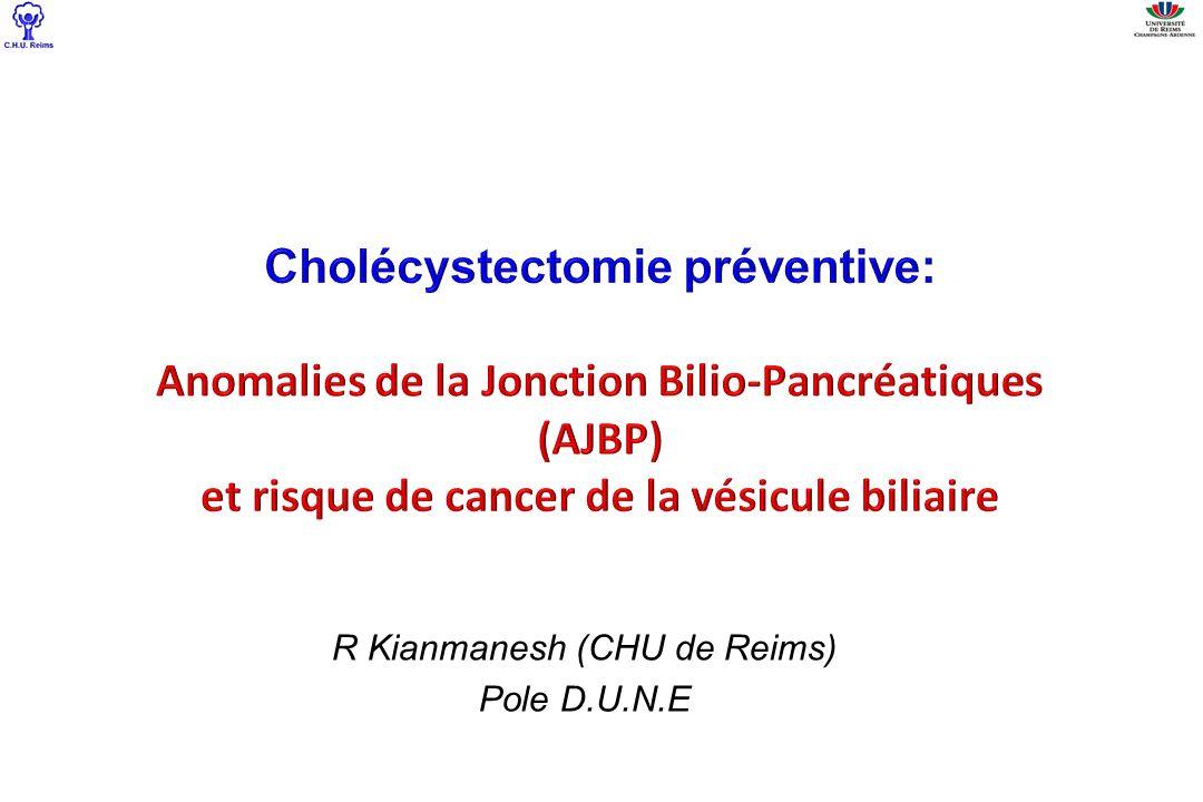 Augmentation du risque de cancer –Vésicule: x 100-800 SérieNb patients adultes AJBP-DCVBAJBP seule Cancer vésicule Cancer Voies biliaires Cancer vésicule Cancer Voies biliaires Morine & al 2013256113,4%6,9%37,4%3,1% Lee & al 20118085,5%5,1% Ohuchida & al 2006 1525,9%3,3%43,2%0 Funabiki,2009
