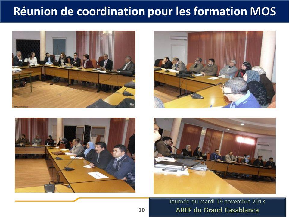 Réunion de coordination pour les formation MOS 10 Journée du mardi 19 novembre 2013 AREF du Grand Casablanca Journée du mardi 19 novembre 2013 AREF du