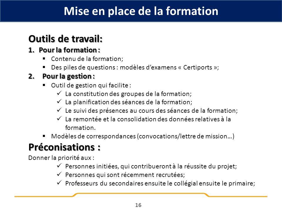 16 Outils de travail: 1.Pour la formation : Contenu de la formation; Des piles de questions : modèles dexamens « Certiports »; 2.Pour la gestion : Out