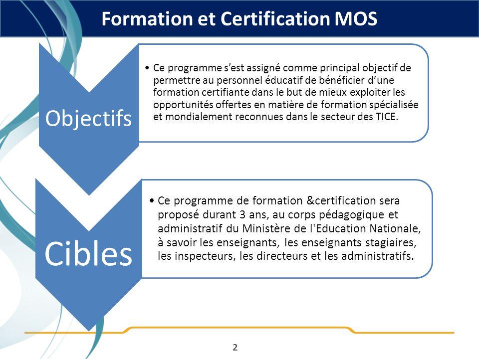 Formation et Certification MOS 2 Cibles Ce programme de formation &certification sera proposé durant 3 ans, au corps pédagogique et administratif du M
