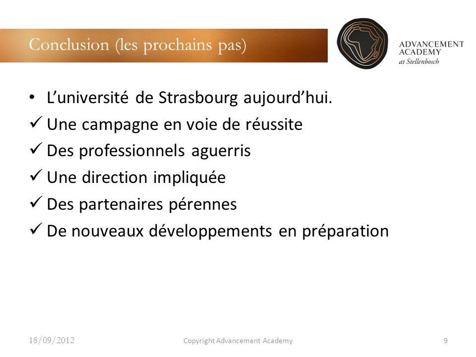 Conclusion (les prochains pas) Luniversité de Strasbourg aujourdhui. Une campagne en voie de réussite Des professionnels aguerris Une direction impliq