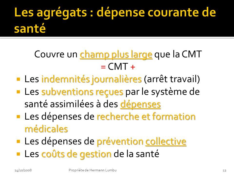 champ plus large Couvre un champ plus large que la CMT = CMT + indemnités journalières Les indemnités journalières (arrêt travail) subventions reçues