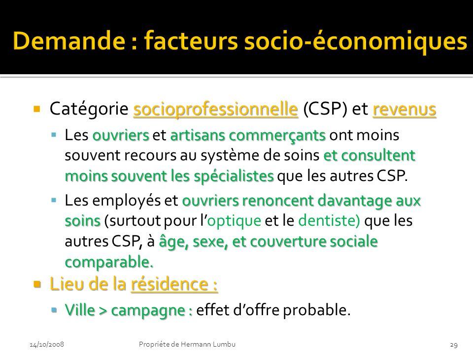 socioprofessionnellerevenus Catégorie socioprofessionnelle (CSP) et revenus ouvriersartisans commerçants et consultent moins souvent les spécialistes