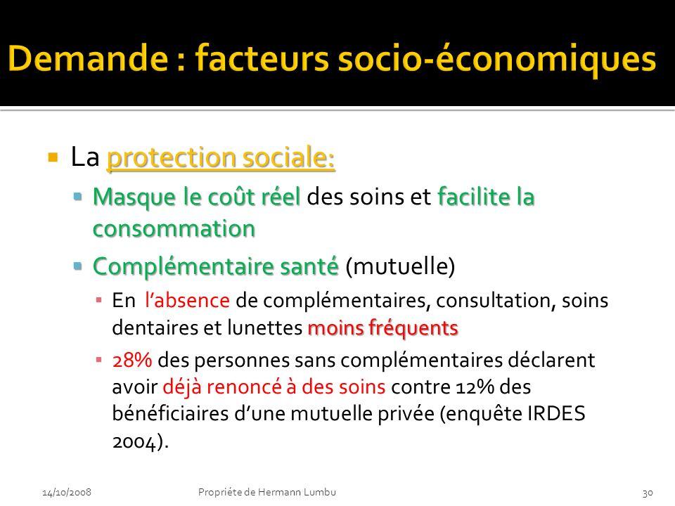 protection sociale: La protection sociale: Masque le coût réel facilite la consommation Masque le coût réel des soins et facilite la consommation Comp