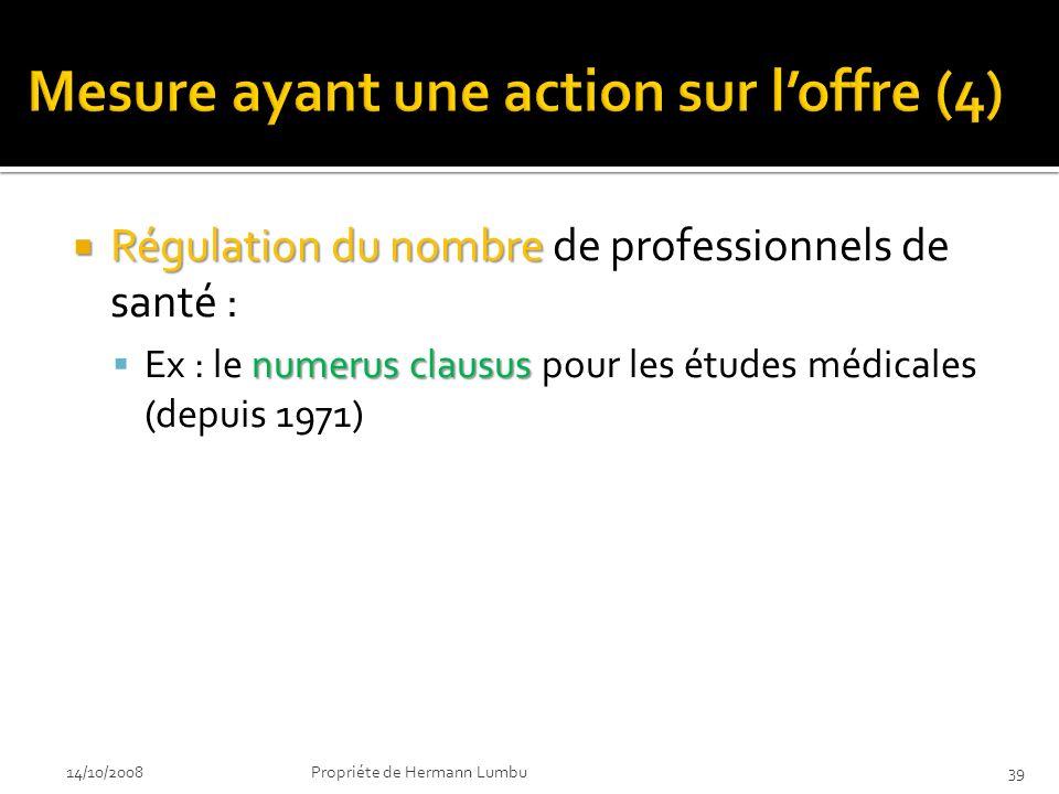 Régulation du nombre Régulation du nombre de professionnels de santé : numerus clausus Ex : le numerus clausus pour les études médicales (depuis 1971) 14/10/200839Propriéte de Hermann Lumbu