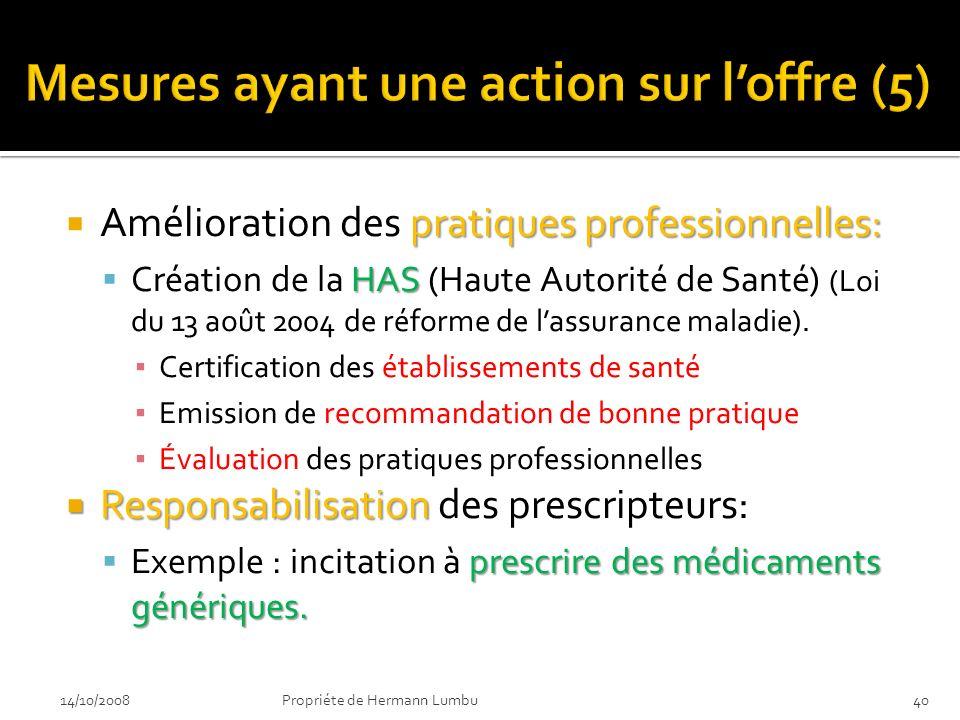 pratiques professionnelles: Amélioration des pratiques professionnelles: HAS Création de la HAS (Haute Autorité de Santé) (Loi du 13 août 2004 de réfo