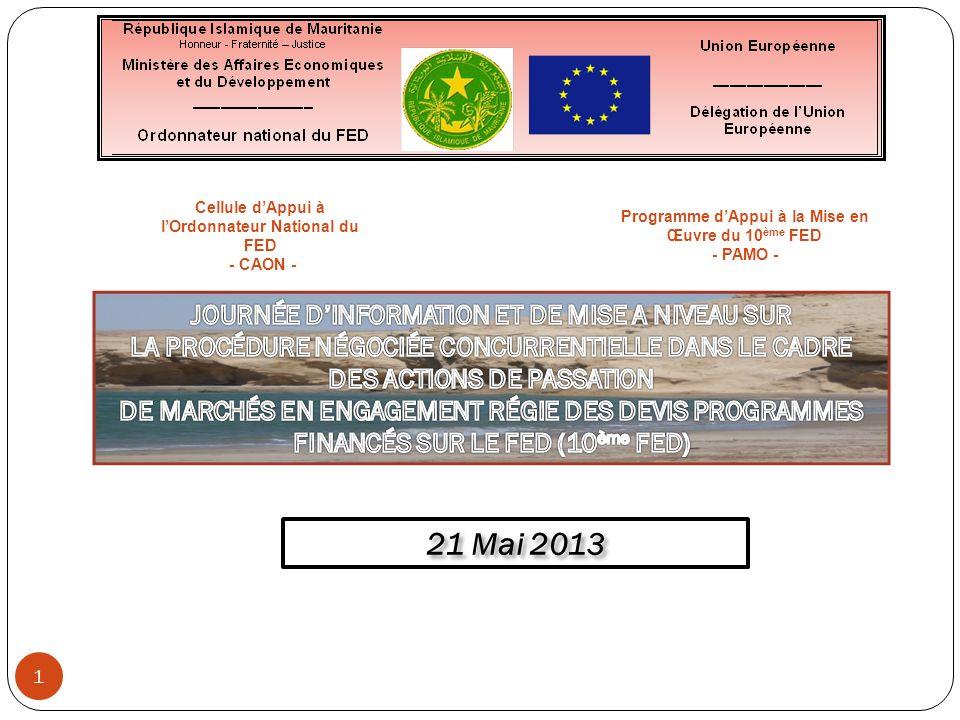 Responsabilités Responsabilités : Régisseur, Comptable et Autres acteurs Contenu du DAO Contenu du DAO : A élaborer sur base des modèles annexés au PRAG et disponibles sur internet à la page : http://ec.europa.eu/europeaid/prag/document.do?locale=fr http://ec.europa.eu/europeaid/prag/document.do?locale=fr Validation du DAO par le Régisseur par des contrôles tels que : Validation du DAO par le Régisseur par des contrôles tels que : Utilisation des bons modèles du PRAG (Version 2013.1 pour toutes les procédures lancées à compter du 14 mars 2013) Nettoyage des paragraphes en gris, entre crochets ou surlignés en jaune Indication de la référence du DAO sur la page de couverture et sur tous les bas de pages Contrôle de cohérence des informations entre les différentes parties du DAO Existence de critères de sélection et dattribution du marché clairs, transparents, non discriminatoires et adaptés au marché Délai minimal de 30 jours prévu entre la date denvoi de la lettre dinvitation à soumissionner et la date limite fixée pour la réception des offres Présence dans le DAO du projet de contrat portant la référence du marché et complété de toutes ses annexes complétées; les clauses standards des Conditions Particulières ne pouvant pas être modifiées doivent rester inchangées Le caractère complet du contenu du DAO III.