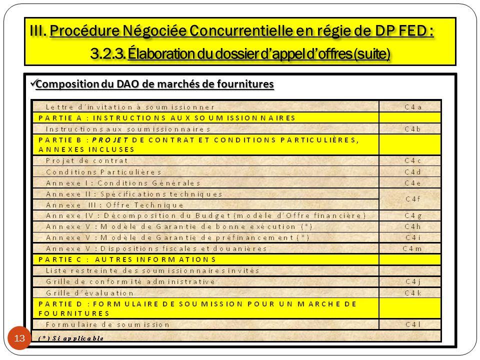 Composition du DAO de marchés de fournitures Composition du DAO de marchés de fournitures III. Procédure Négociée Concurrentielle en régie de DP FED :