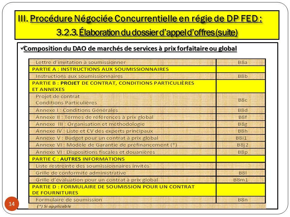 Composition du DAO de marchés de services à prix forfaitaire ou global Composition du DAO de marchés de services à prix forfaitaire ou global III. Pro