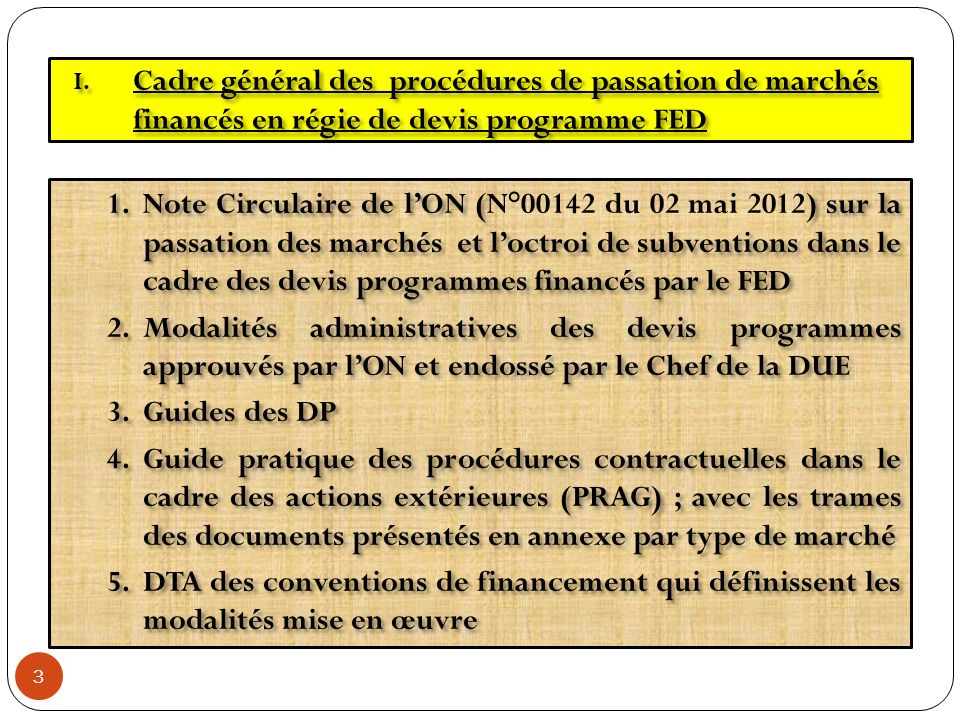 1.Note Circulaire de lON () sur la passation des marchés et loctroi de subventions dans le cadre des devis programmes financés par le FED 1.Note Circu
