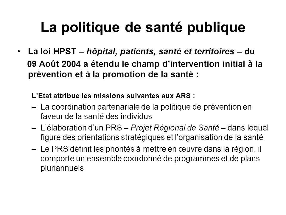 La politique de santé publique La loi HPST – hôpital, patients, santé et territoires – du 09 Août 2004 a étendu le champ dintervention initial à la pr