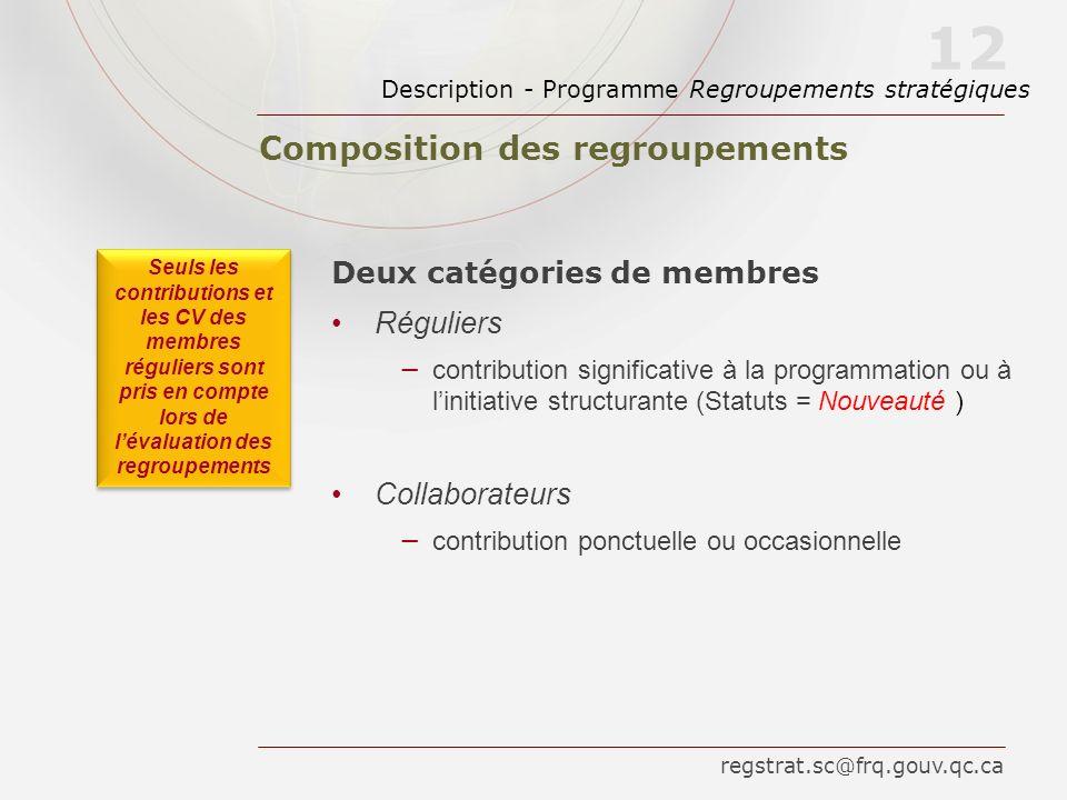 Composition des regroupements Description - Programme Regroupements stratégiques 12 Deux catégories de membres Réguliers contribution significative à
