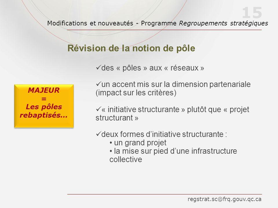 des « pôles » aux « réseaux » un accent mis sur la dimension partenariale (impact sur les critères) « initiative structurante » plutôt que « projet structurant » deux formes dinitiative structurante : un grand projet la mise sur pied dune infrastructure collective 15 Révision de la notion de pôle MAJEUR = Les pôles rebaptisés… MAJEUR = Les pôles rebaptisés… regstrat.sc@frq.gouv.qc.ca Modifications et nouveautés - Programme Regroupements stratégiques