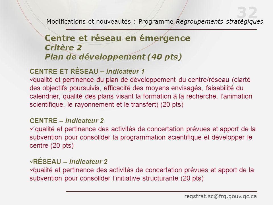 CENTRE ET RÉSEAU – Indicateur 1 qualité et pertinence du plan de développement du centre/réseau (clarté des objectifs poursuivis, efficacité des moyen