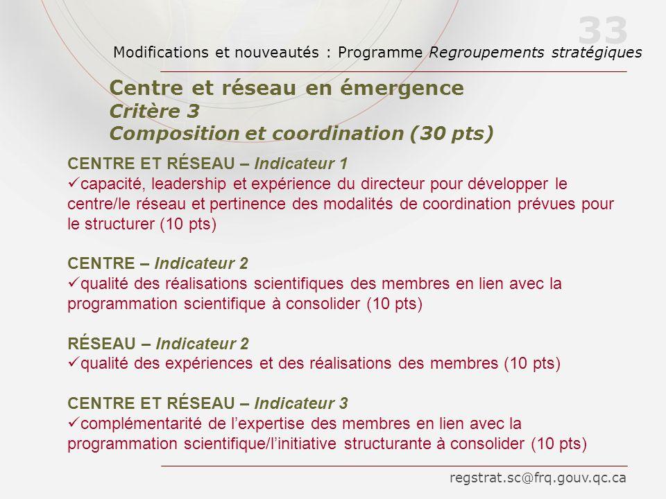 CENTRE ET RÉSEAU – Indicateur 1 capacité, leadership et expérience du directeur pour développer le centre/le réseau et pertinence des modalités de coo