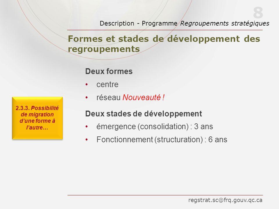 Formes et stades de développement des regroupements Description - Programme Regroupements stratégiques 8 Deux formes centre réseau Nouveauté ! Deux st