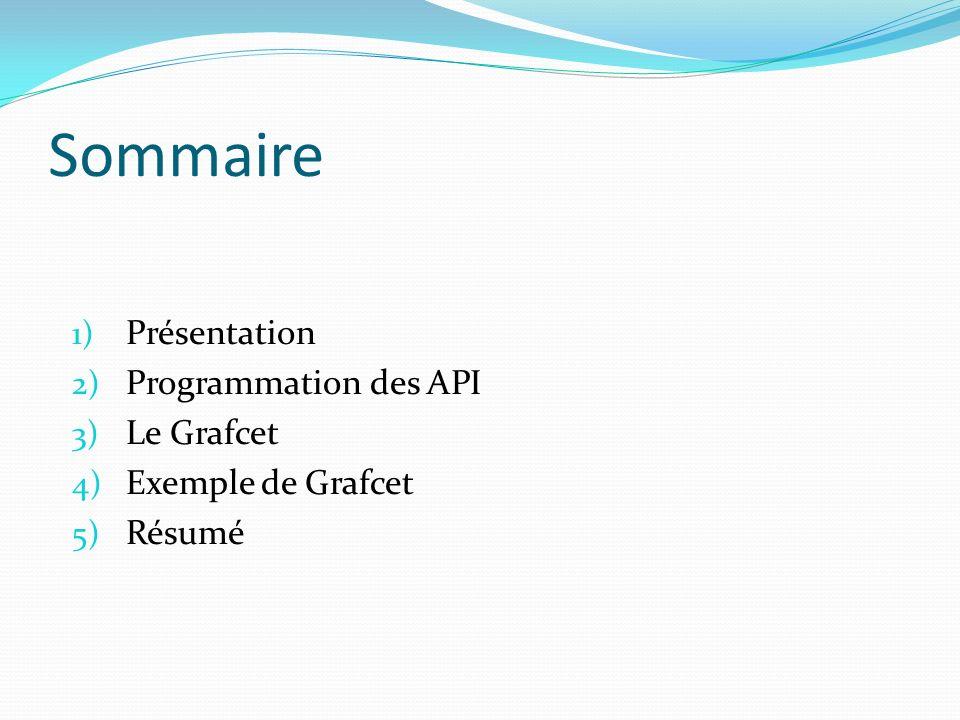 Sommaire 1) Présentation 2) Programmation des API 3) Le Grafcet 4) Exemple de Grafcet 5) Résumé