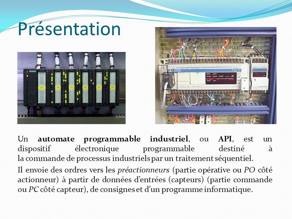 Présentation Un automate programmable industriel, ou API, est un dispositif électronique programmable destiné à la commande de processus industriels p