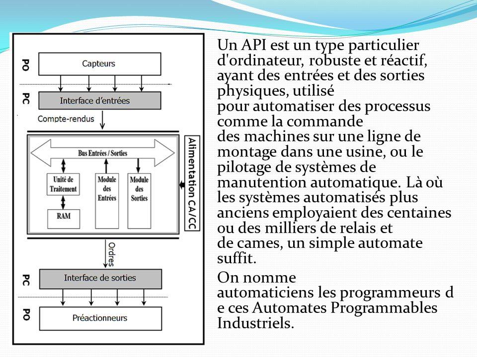 Un API est un type particulier d'ordinateur, robuste et réactif, ayant des entrées et des sorties physiques, utilisé pour automatiser des processus co