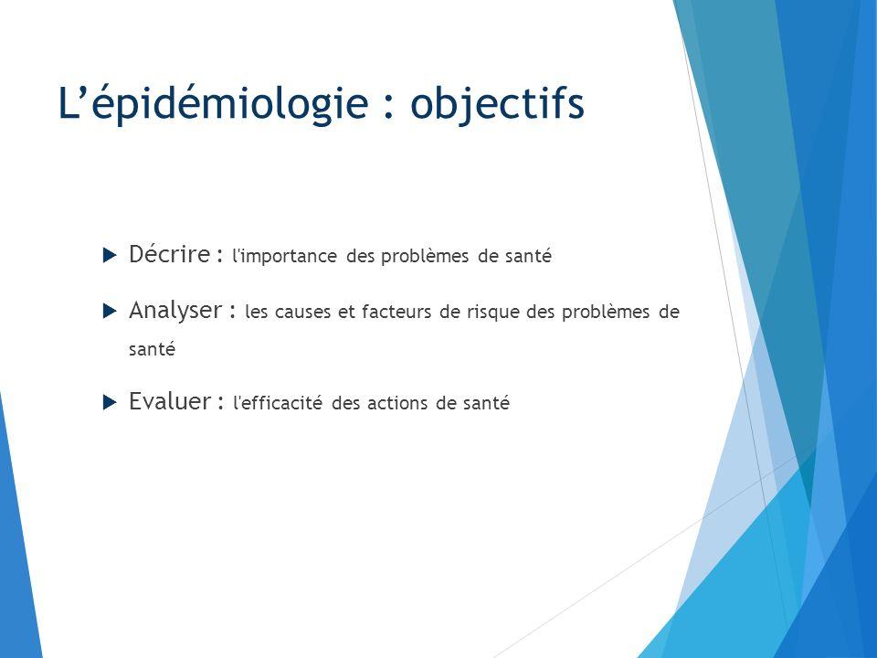 Décrire : l'importance des problèmes de santé Analyser : les causes et facteurs de risque des problèmes de santé Evaluer : l'efficacité des actions de