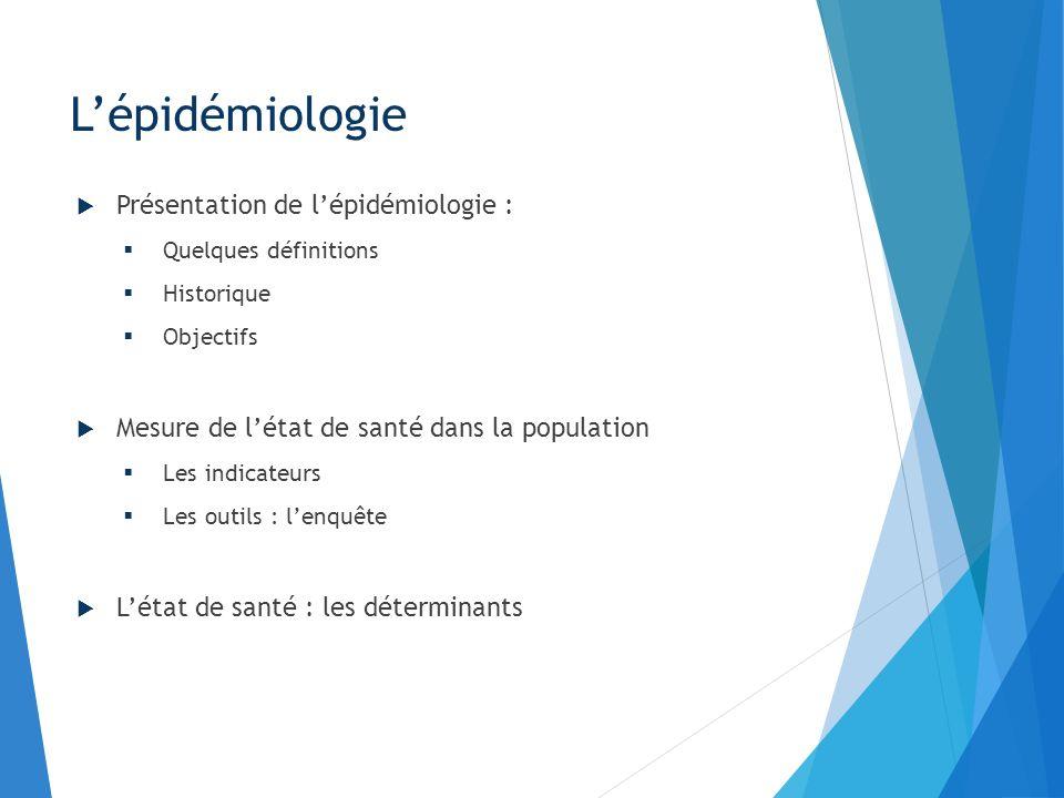 Lépidémiologie Présentation de lépidémiologie : Quelques définitions Historique Objectifs Mesure de létat de santé dans la population Les indicateurs
