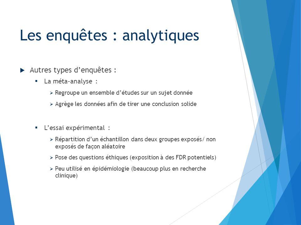 Autres types denquêtes : La méta-analyse : Regroupe un ensemble détudes sur un sujet donnée Agrège les données afin de tirer une conclusion solide Les