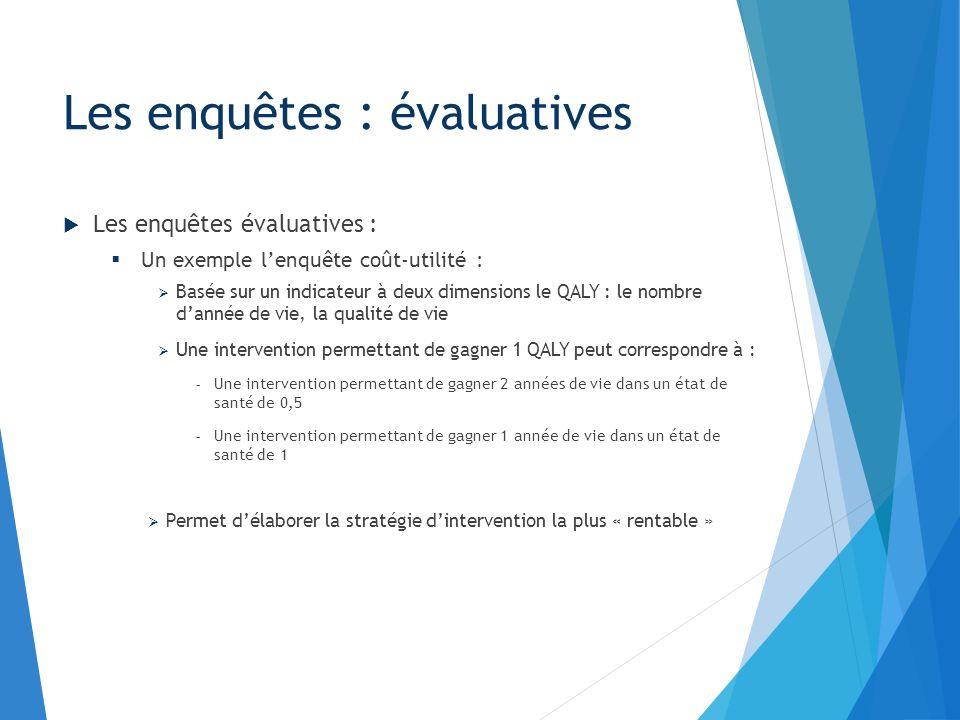 Les enquêtes évaluatives : Un exemple lenquête coût-utilité : Basée sur un indicateur à deux dimensions le QALY : le nombre dannée de vie, la qualité