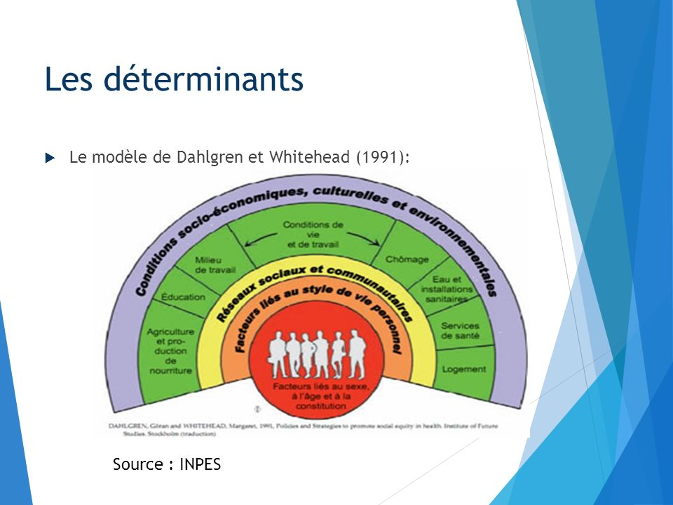 Le modèle de Dahlgren et Whitehead (1991): Les déterminants Source : INPES