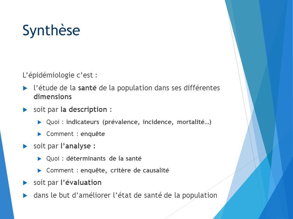 Synthèse Lépidémiologie cest : létude de la santé de la population dans ses différentes dimensions soit par la description : Quoi : indicateurs (préva