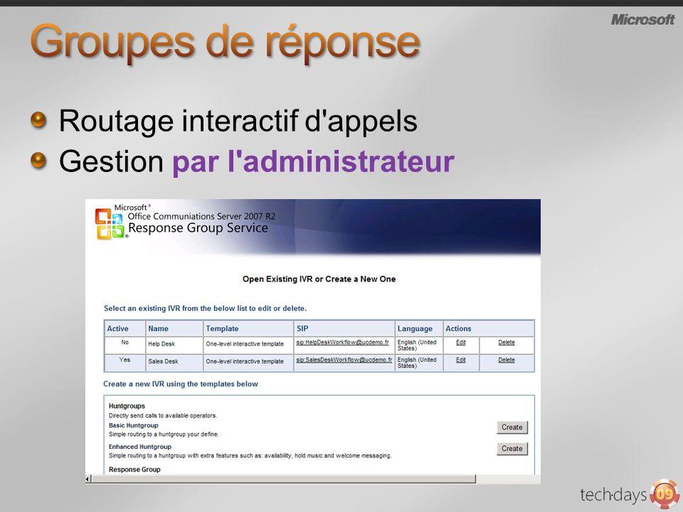 Routage interactif d appels Gestion par l administrateur