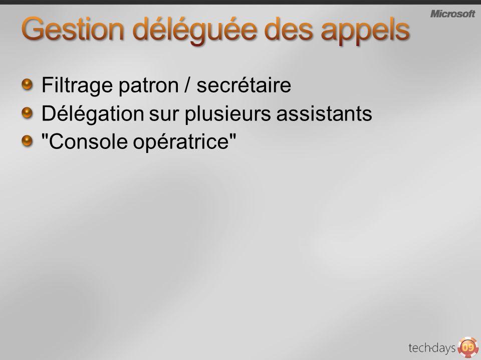 Filtrage patron / secrétaire Délégation sur plusieurs assistants Console opératrice
