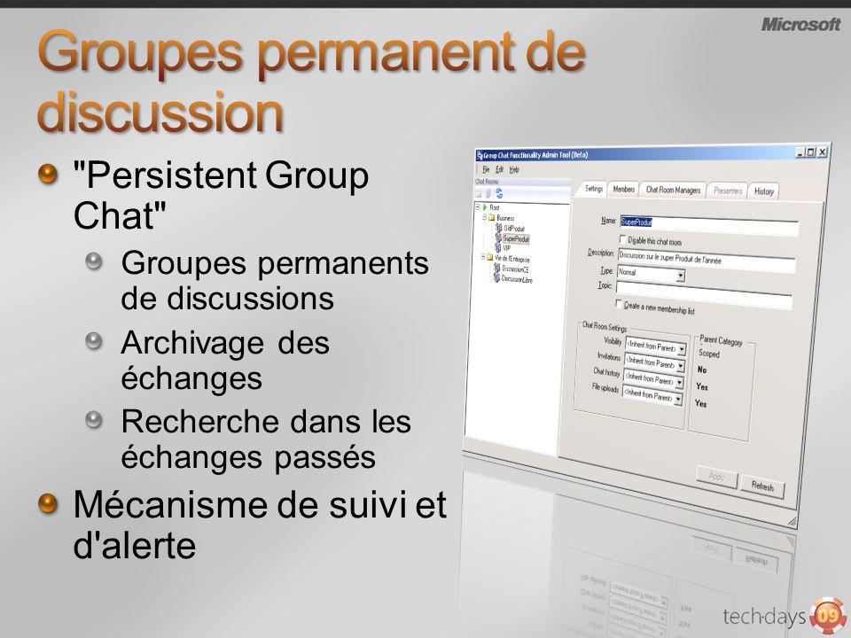 Persistent Group Chat Groupes permanents de discussions Archivage des échanges Recherche dans les échanges passés Mécanisme de suivi et d alerte