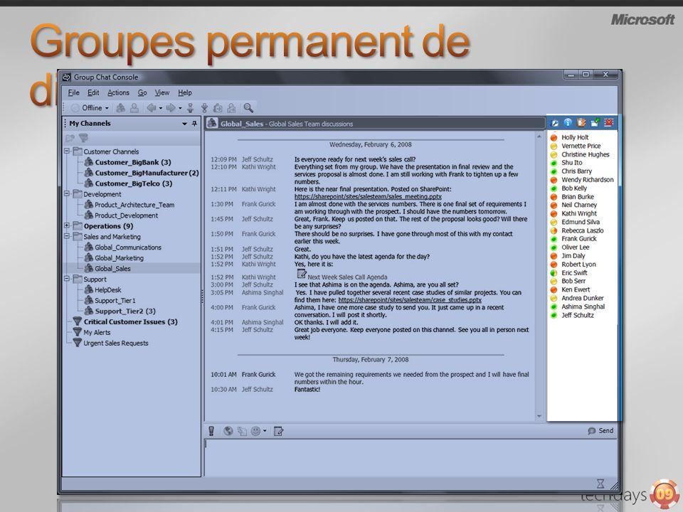 Accès Web : IE ou FireFox (Windows et Linux) Fonctionalités proches du client windows Accès invité Partage du bureau par RDP (Remote Desktop Protocol) Accès par Communicator Mobile (COMO) Audio via le pont de conférence OCS 2007 R2
