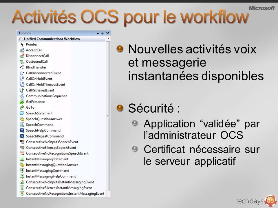Nouvelles activités voix et messagerie instantanées disponibles Sécurité : Application validée par ladministrateur OCS Certificat nécessaire sur le serveur applicatif