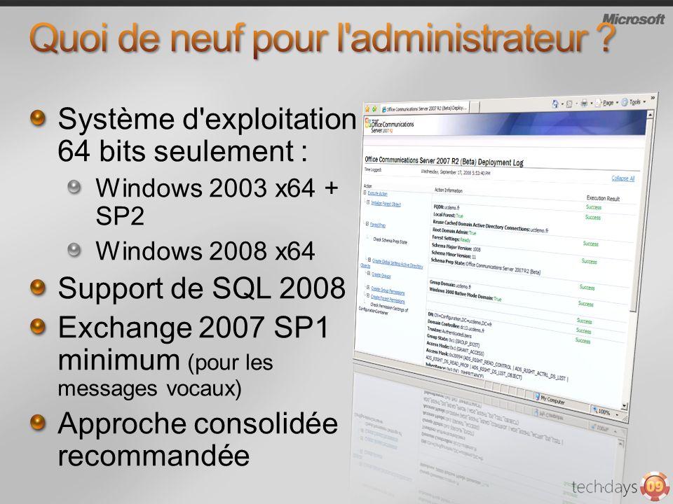 Système d exploitation 64 bits seulement : Windows 2003 x64 + SP2 Windows 2008 x64 Support de SQL 2008 Exchange 2007 SP1 minimum (pour les messages vocaux) Approche consolidée recommandée