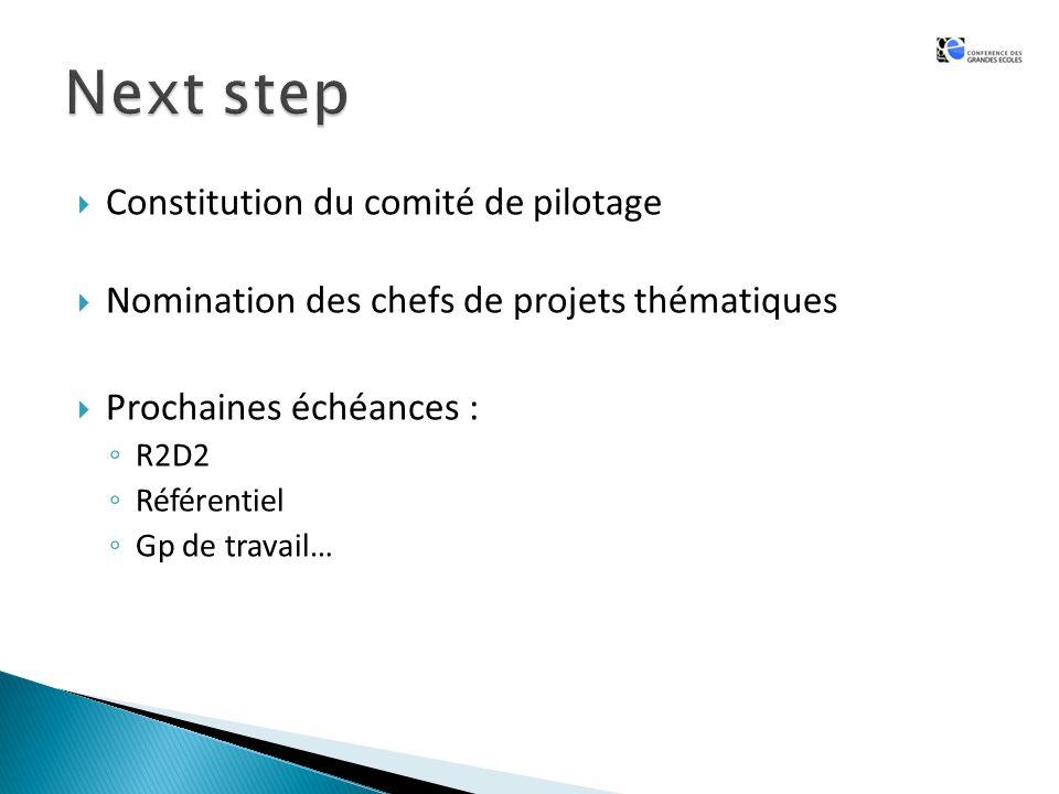 Constitution du comité de pilotage Nomination des chefs de projets thématiques Prochaines échéances : R2D2 Référentiel Gp de travail…