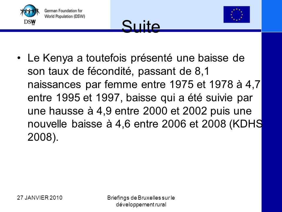 Suite Le Kenya a toutefois présenté une baisse de son taux de fécondité, passant de 8,1 naissances par femme entre 1975 et 1978 à 4,7 entre 1995 et 1997, baisse qui a été suivie par une hausse à 4,9 entre 2000 et 2002 puis une nouvelle baisse à 4,6 entre 2006 et 2008 (KDHS 2008).