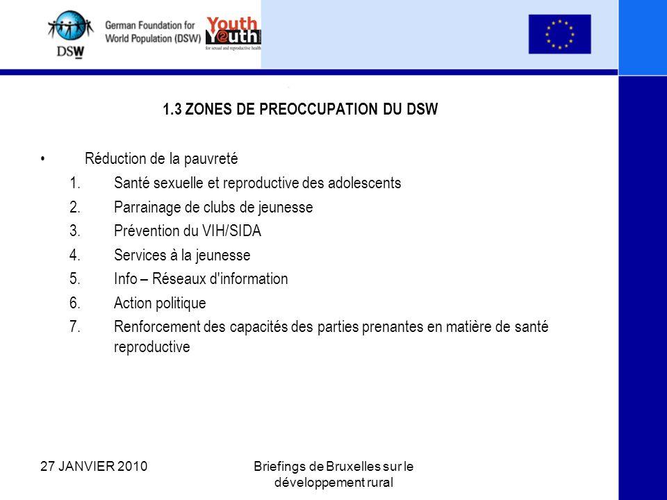 1.3 ZONES DE PREOCCUPATION DU DSW Réduction de la pauvreté 1.Santé sexuelle et reproductive des adolescents 2.Parrainage de clubs de jeunesse 3.Prévention du VIH/SIDA 4.Services à la jeunesse 5.Info – Réseaux d information 6.Action politique 7.Renforcement des capacités des parties prenantes en matière de santé reproductive 27 JANVIER 2010Briefings de Bruxelles sur le développement rural