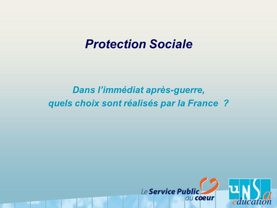 Protection Sociale Dans limmédiat après-guerre, quels choix sont réalisés par la France ?