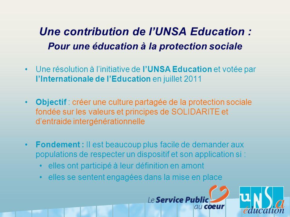 Une contribution de lUNSA Education : Pour une éducation à la protection sociale Une résolution à linitiative de lUNSA Education et votée par lInterna