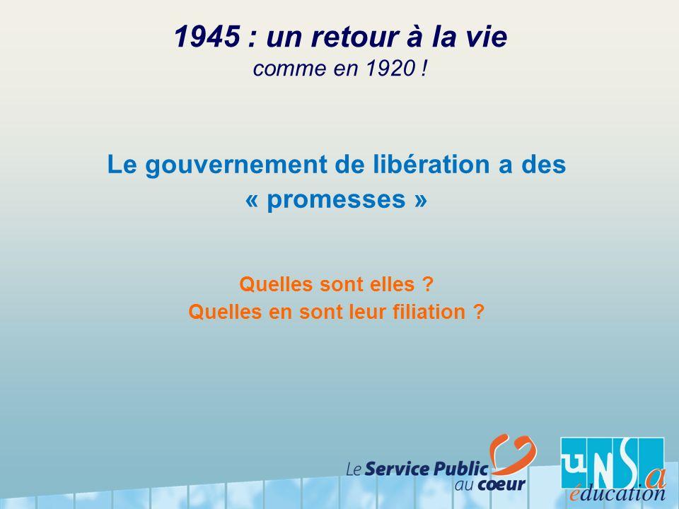 1945 : un retour à la vie comme en 1920 ! Le gouvernement de libération a des « promesses » Quelles sont elles ? Quelles en sont leur filiation ?