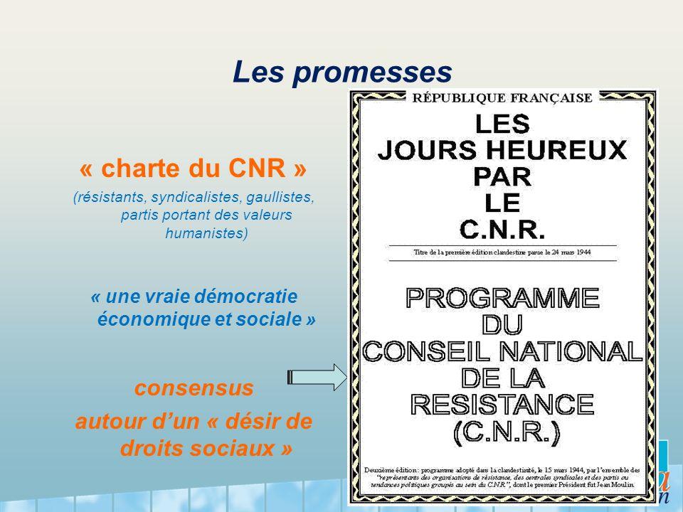 Les promesses « charte du CNR » (résistants, syndicalistes, gaullistes, partis portant des valeurs humanistes) « une vraie démocratie économique et so
