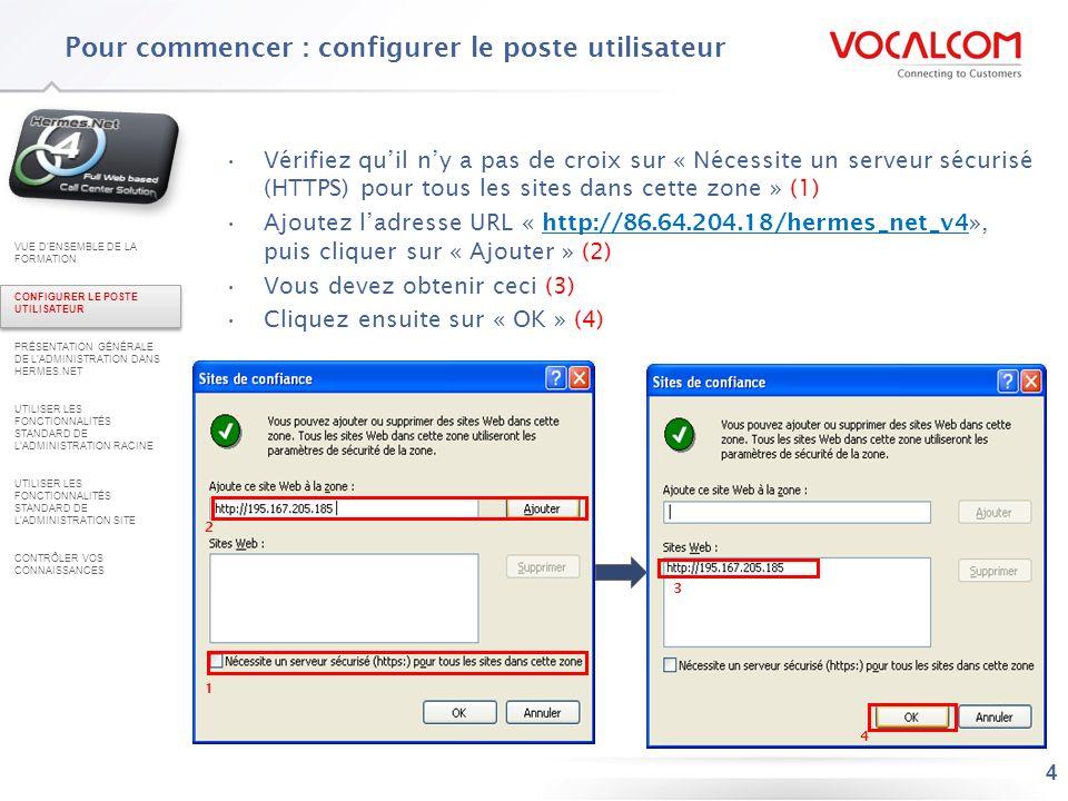 4 Vérifiez quil ny a pas de croix sur « Nécessite un serveur sécurisé (HTTPS) pour tous les sites dans cette zone » (1) Ajoutez ladresse URL « http://