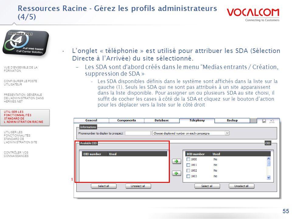 55 Longlet « téléphonie » est utilisé pour attribuer les SDA (Sélection Directe à lArrivée) du site sélectionné. –Les SDA sont d'abord créés dans le m