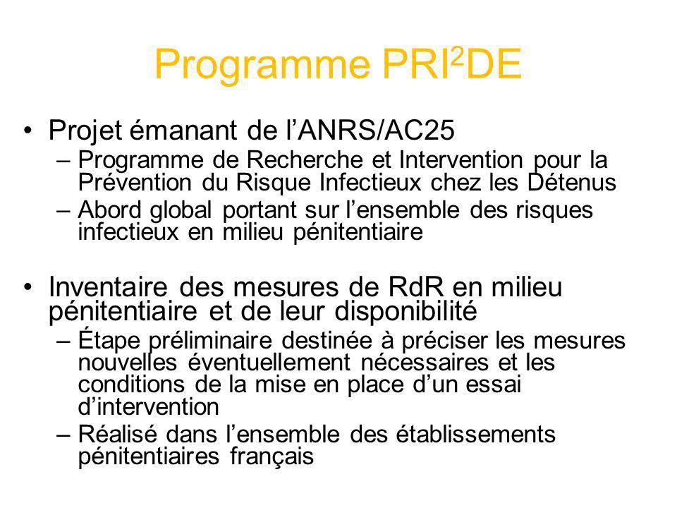 Programme PRI 2 DE Projet émanant de lANRS/AC25 –Programme de Recherche et Intervention pour la Prévention du Risque Infectieux chez les Détenus –Abor