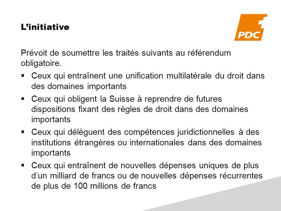 Linitiative Prévoit de soumettre les traités suivants au référendum obligatoire. Ceux qui entraînent une unification multilatérale du droit dans des d